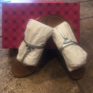 Tory Burch Metallic Saffiano Sandals